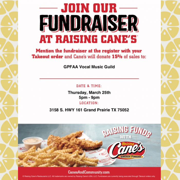 Raising Cane's Fundraiser Is Thursday, March 25, 2021